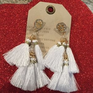 Anthropologie earrings white tassels earrings new